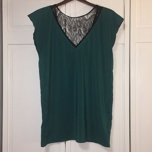 NWOT Bisou Bisou Teal & Black Lace Top